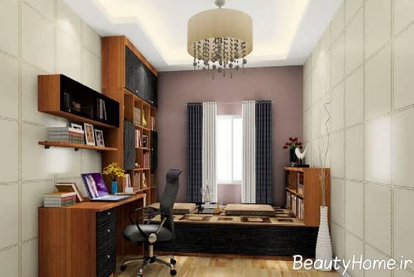 طراحی زیبای فضای داخلی اتاق مطالعه