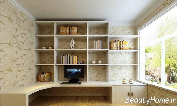 طراحی اتاق مطالعه با قفسه دیواری
