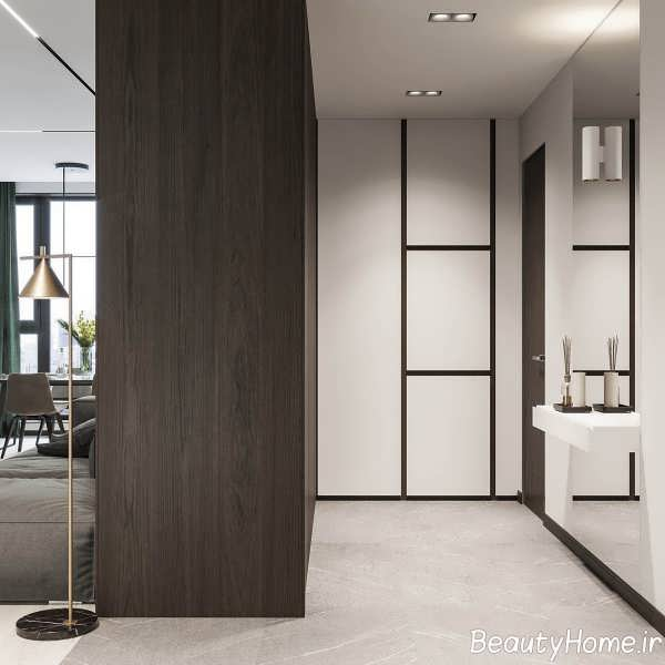 طراحی داخلی فضای آپارتمان با چوب گردو