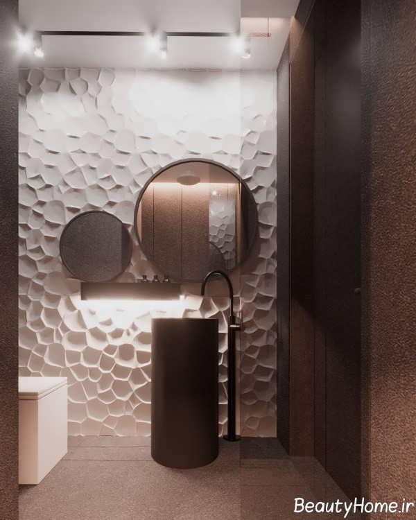 طراحی حمام با چوب گردو