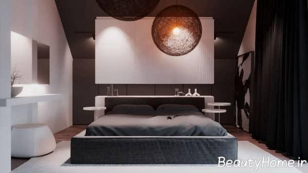 دیزیاین شیک اتاق خواب با چوب گردو