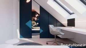 طراحی اتاق کار با چوب گردو