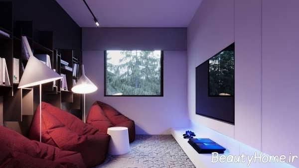 دکوراسیون لاکچری فضای داخلی آپارتمان با چوب گردو