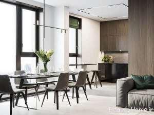 طراحی شیک فضای داخلی خانه با چوب گردو
