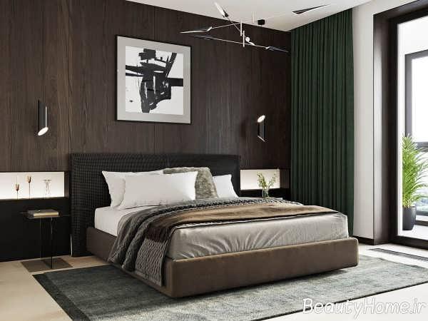 دکوراسیون اتاق خواب با چوب گردو