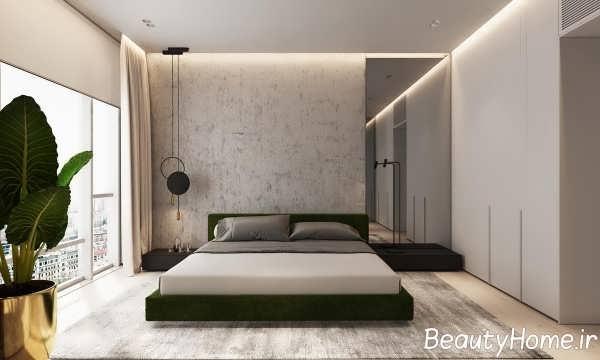 چیدمان اتاق خواب با چوب گردو