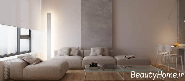 طراحی شیک اتاق نشیمن آپارتمان