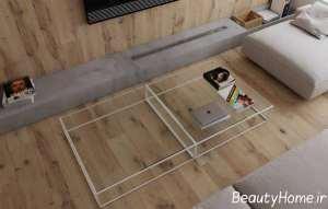 کف پوش چوبی نمای داخلی آپارتمان