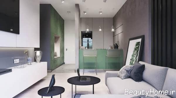 طراحی فضای داخلی آپارتمان با تم سبز