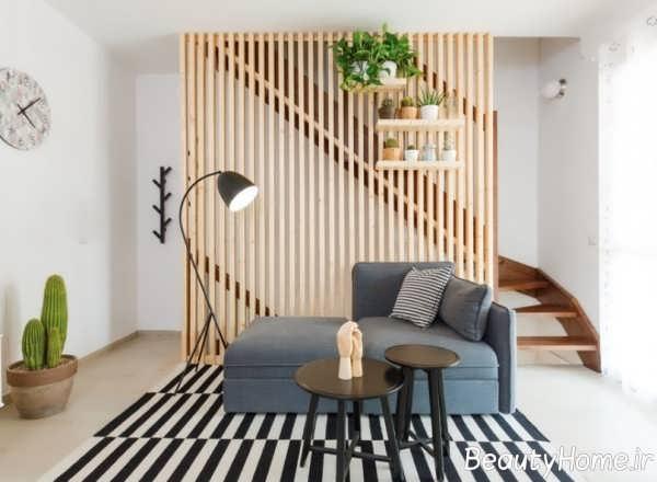 جداسازی اتاق با دکور چوبی