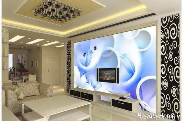 مدل کاغذ دیواری زیبا و شیک برای دیوار پشت ال سی دی