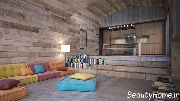طراحی شیک اتاق نشیمن با چوب