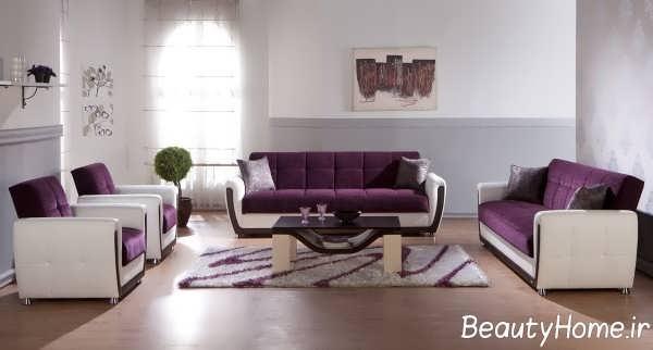 طراحی ساده اتاق پذیرایی با تم بنفش