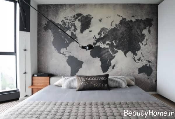 تزیین تخت خواب با نقشه جهان