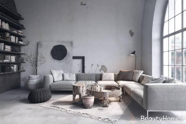 دکوراسیون خاکستری اتاق پذیرایی