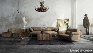 طراحی داخلی پذیرایی روستیک