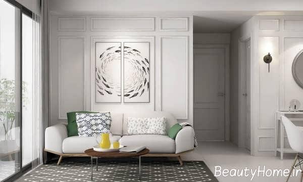 طراحی اتاق نشیمن با دکور دیواری