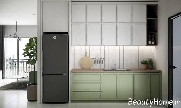 طراحی آشپزخانه با دکوری دیواری