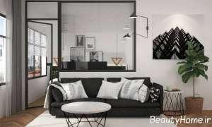طراحی اتاق نشیمن با دکوری دیواری