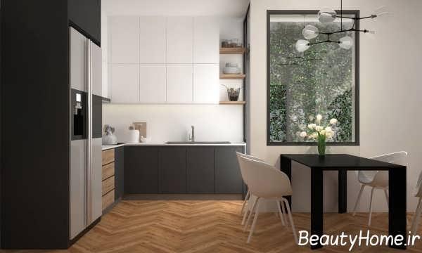 طراحی آشپزخانه لاکچری با دکور دیواری