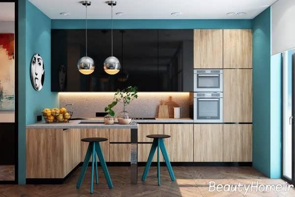 رنگ آبی در دکوراسیون آشپزخانه