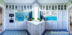 رنگ آبی در دکوراسیون زیبای آشپزخانه