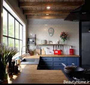 چیدمان متفاوت آشپزخانه با تم آبی