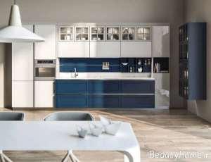 چیدمان زیبای آشپزخانه با تم آبی