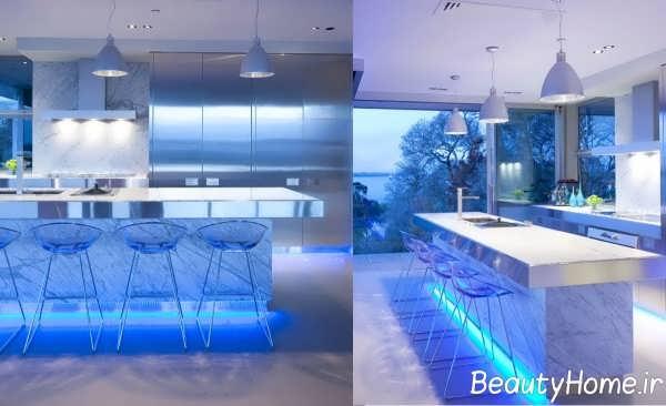 چیدمان فوق العاده آشپزخانه با تم آبی