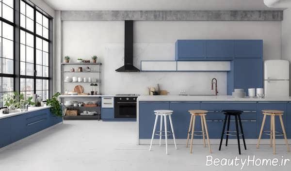 دیزاین عالی آشپزخانه با تم آبی