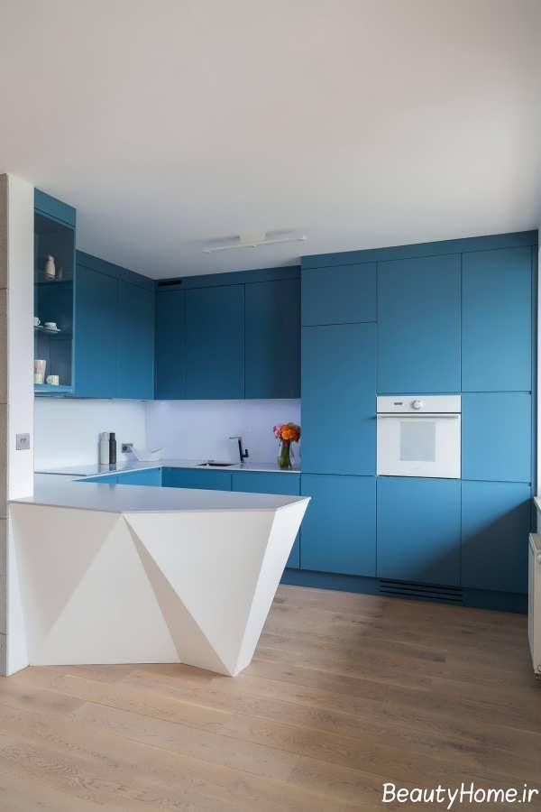 چیدمان آشپژخانه با تم آبی