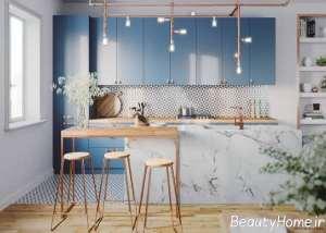 دیزاین لاکچری آشپزخانه با تم آبی