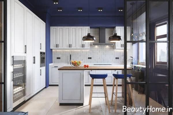 رنگ آبی در طراحی لاکچری آشپزخانه