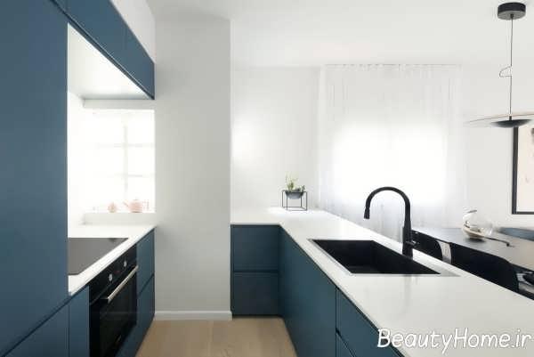 طراحی لاکچری آشپزخانه با تم آبی