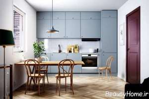 طراحی زیبای آشپزخانه با تم آبی