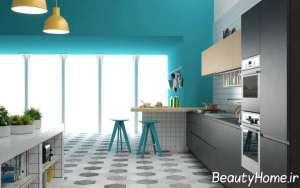 رنگ آبی در دکوراسیون عالی آشپزخانه