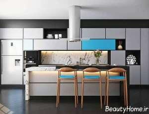 رنگ آبی در دکوراسیون ایده آل آشپزخانه
