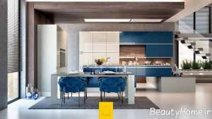 رنگ آبی در دکوراسیون متفاوت آشپزخانه