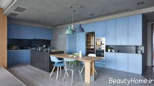 رنگ آبی در دکوراسیون فوق العاده آشپزخانه