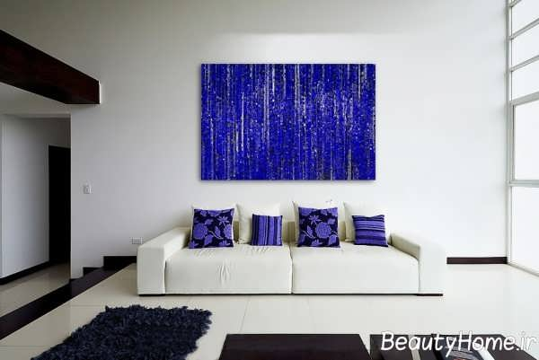 رنگ آبی در دکوراسیون اتاق پذیرایی