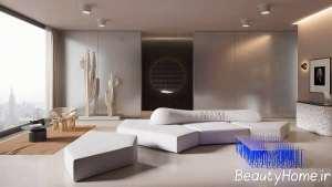 طراحی زیبای اتاق نشیمن با تم آبی