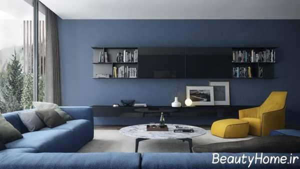 اتاق پذیرایی زیبا با تم آبی