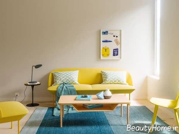 دیزاین ترکیبی زرد- آبی اتاق پذیرایی