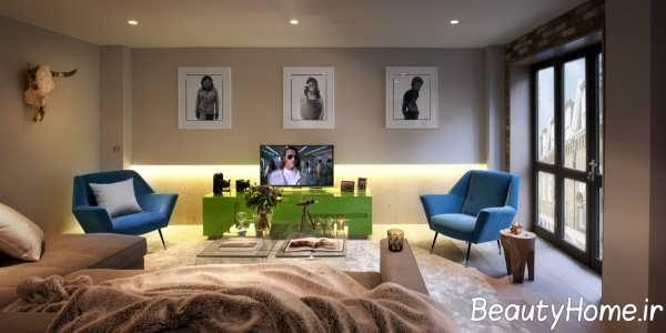طراحی اتاق پذیرایی با تم ترکیبی زرد- آبی