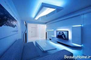 طراحی شیک اتاق پذیرایی با تم آبی