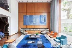 اتاق پذیرایی آبی رنگ