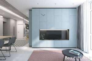 تم آبی در دیزاین اتاق نشیمن
