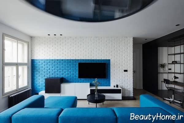 طراحی اتاق نشیمن با تم آبی
