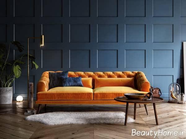 استفاده از رنگ آبی تیره در دکوراسیون اتاق پذیرایی