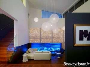 رنگ آبی در اتاق پذیرایی